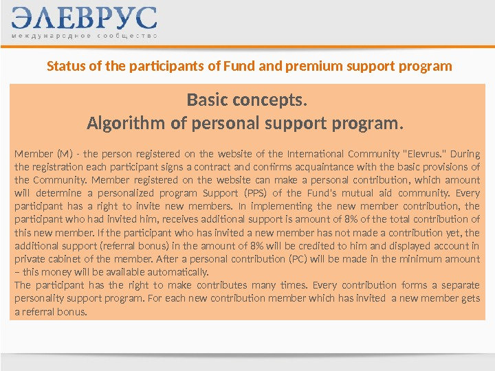 Status of the participants of Fund and premium support program Basic concepts. Algorithm of personal support