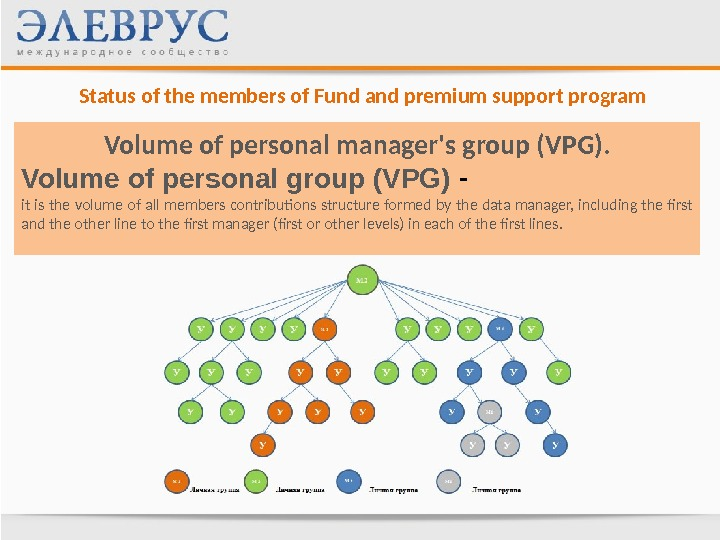 Status of the members of Fund and premium support program Volume of personal manager's group (VPG).