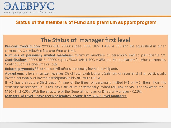 Status of the members of Fund and premium support program The Status of manager first level