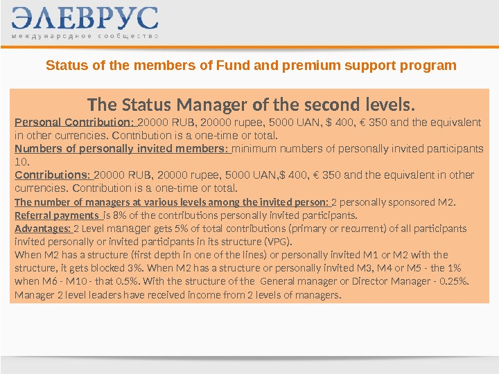 Status of the members of Fund and premium support program  The Status Manager  of