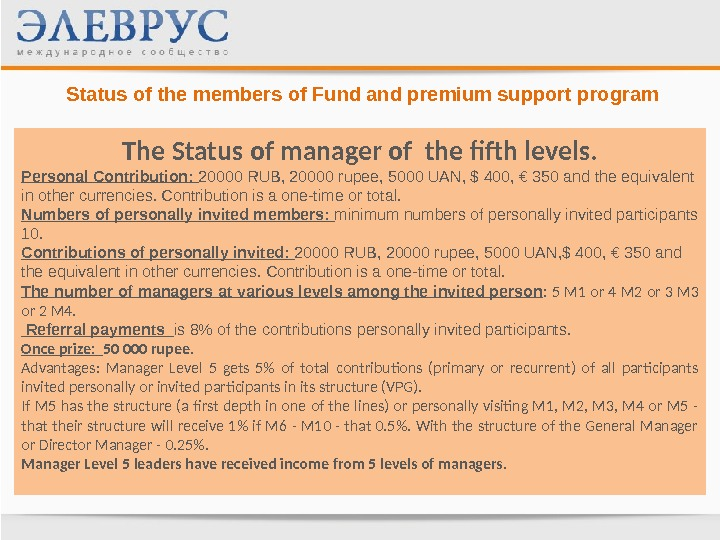 Status of the members of Fund and premium support program The Status of manager of the