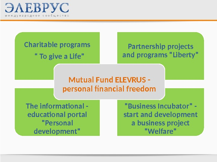 "Partnership projects and programs LibertyCharitable programs "" To give a Life The informational - educational portal"