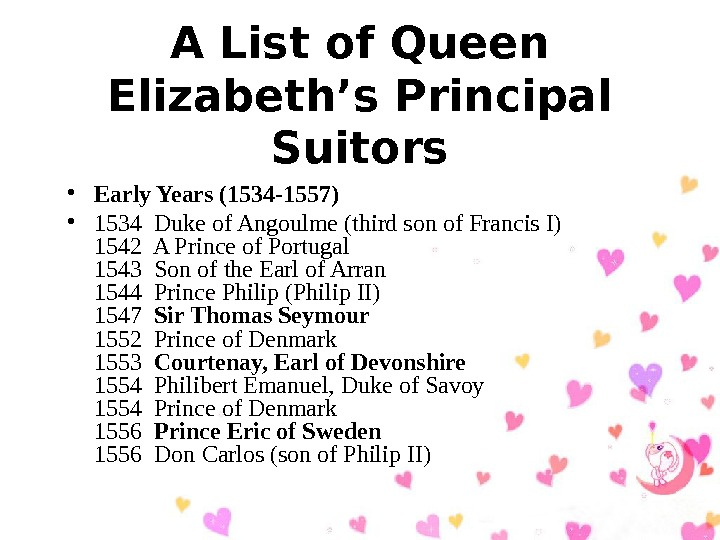 A List of Queen Elizabeth's Principal Suitors • Early Years (1534 -1557)  •