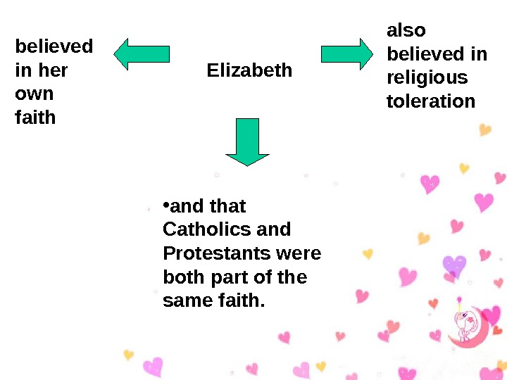 Elizabethbelieved in her own faith also believed in religious toleration • and that Catholics