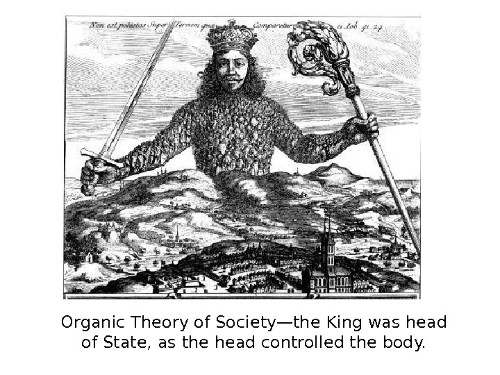 Organic Theory of Society—the King was head of State, as the head controlled the