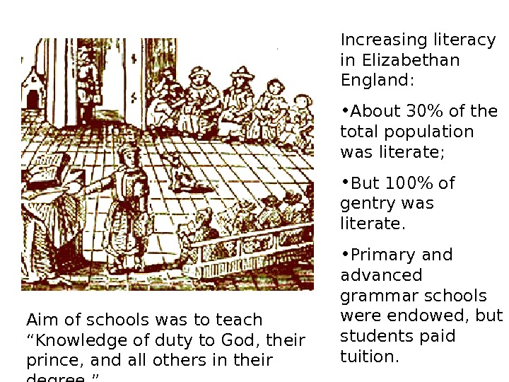 Increasing literacy in Elizabethan England:  • About 30 of the total population was