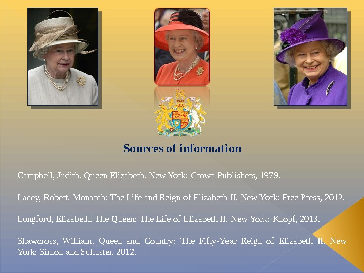Sources of information Campbell, Judith. Queen Elizabeth. New York: Crown Publishers, 1979. Lacey, Robert. Monarch: The