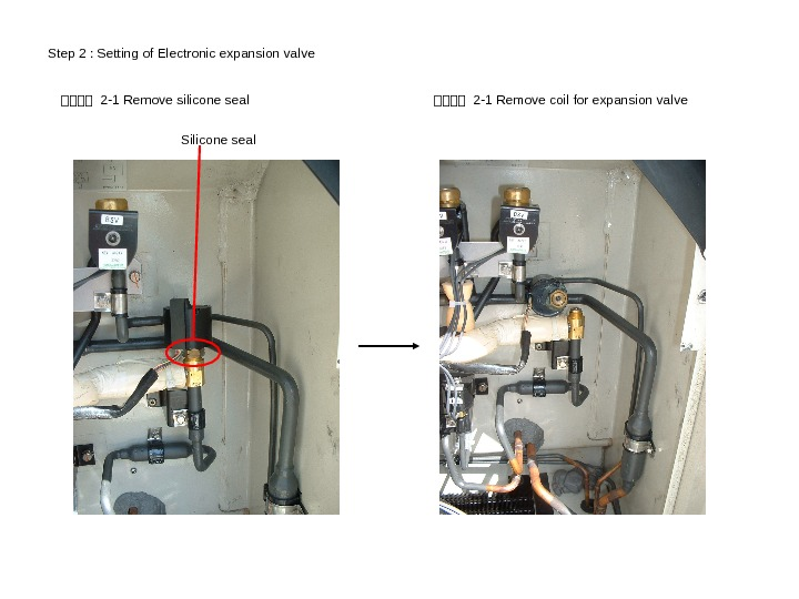 Step 2 : Setting of Electronic expansion valve SSSS 2 -1 Remove silicone seal Silicone seal