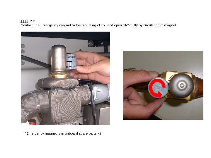 SSSS 3 -2 Contact the Emergency magnet to the mounting of coil and open SMV fully