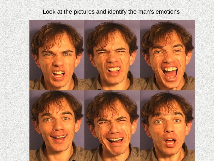 Look at the pictures and identify the man's emotions