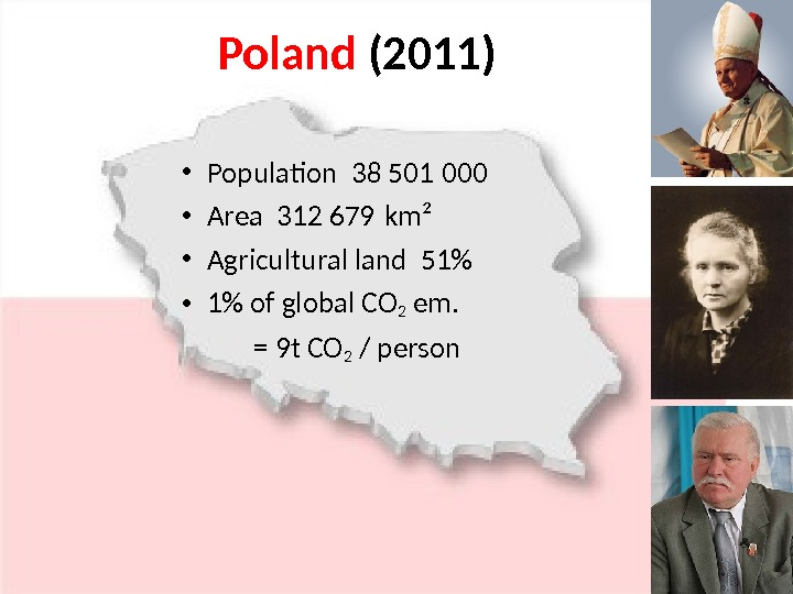 Poland (2011) • Population 38 501  000 • Area 312 679 km² • Agricultural land