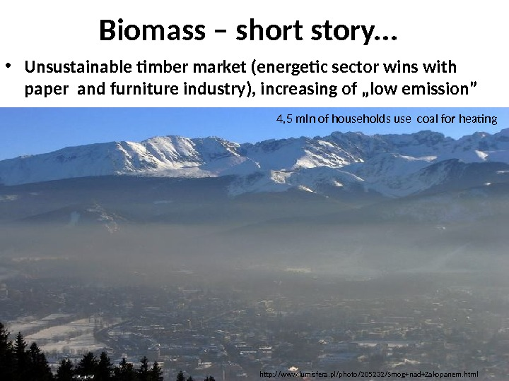 Biomass – short story. . .  • Unsustainable timber market (energetic sector wins with paper