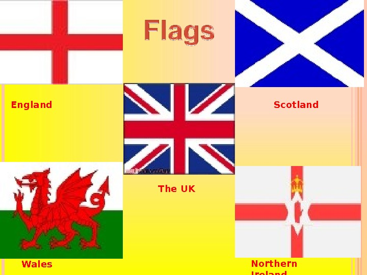 FLAGS The UK Scotland Wales Northern Ireland. England