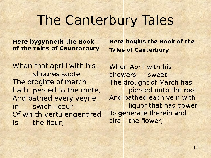 13 The Canterbury Tales Here bygynneth the Book of the tales of Caunterbury  Whan that