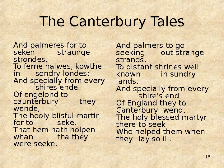 15 The Canterbury Tales And palmeres for to seken straunge strondes, To ferne halwes, kowthe in