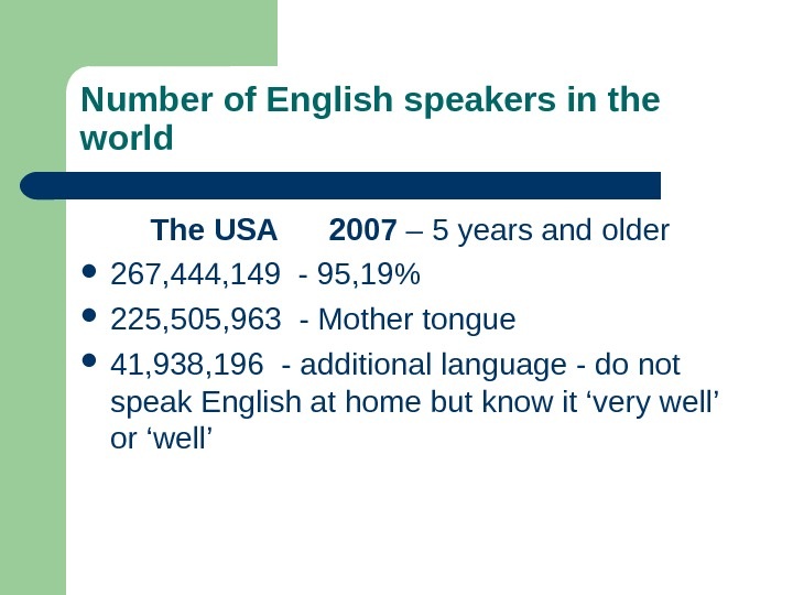 Number of English speakers in the world  The USA  2007 – 5