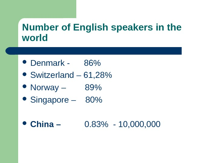Number of English speakers in the world Denmark - 86 Switzerland – 61, 28