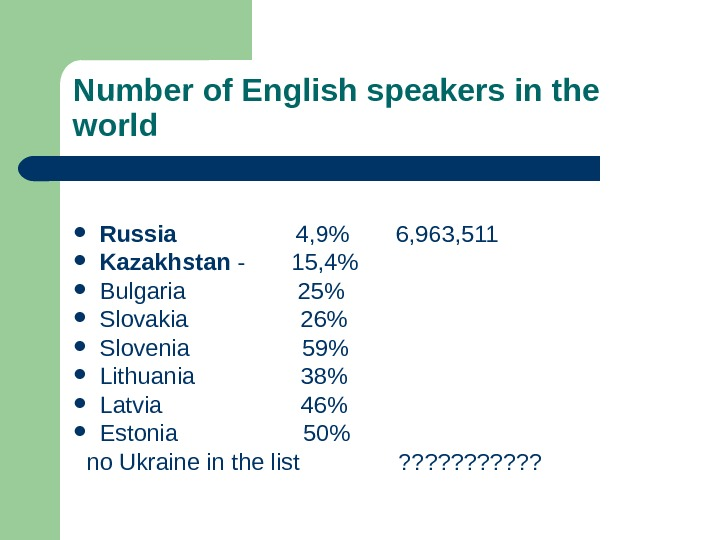 Number of English speakers in the world Russia     4, 9