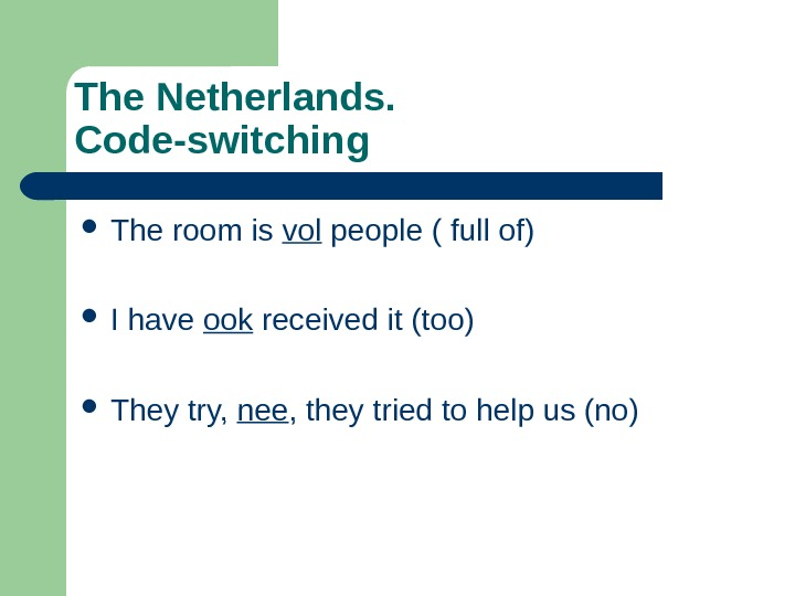 The Netherlands.  Code-switching The room is vol people ( full of) I have