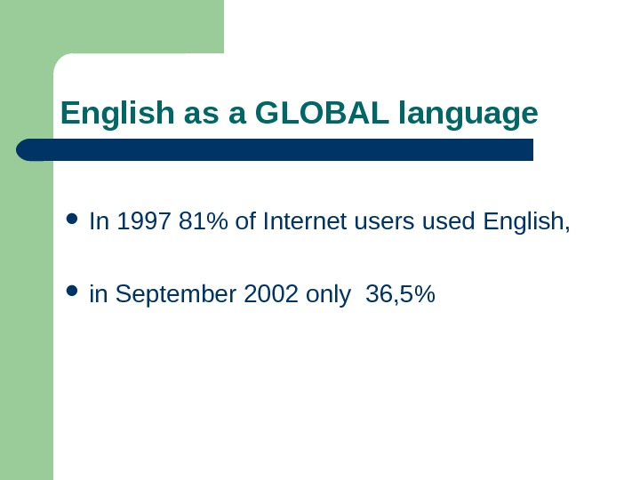 English as a GLOBAL language In 1997 81 of Internet users used English,