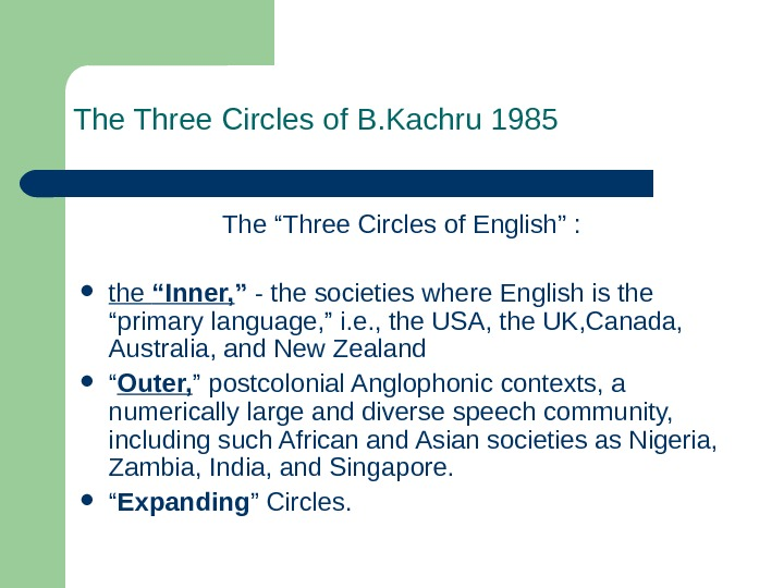 "The Three Circles of B. Kachru 1985 The ""Three Circles of English"" :"