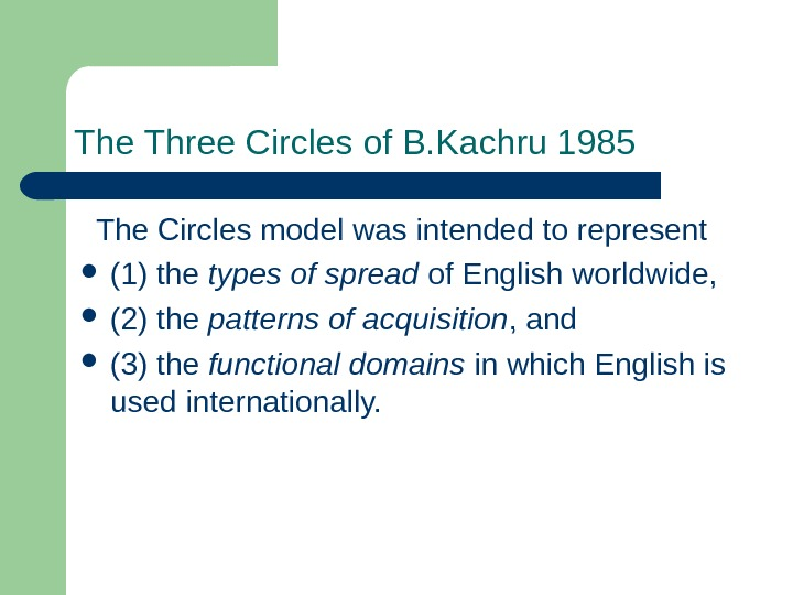 The Three Circles of B. Kachru 1985 The Circles model was intended to represent