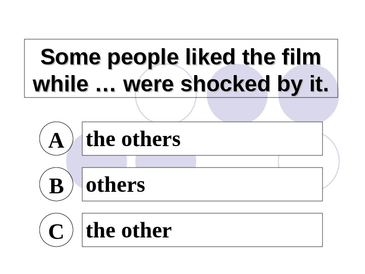 Some people liked the film while … were shocked by it. A the others B others