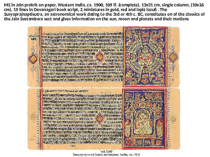 MS in Jain prakrit on paper, Western India, ca. 1500, 105 ff. (complete), 13 x 31