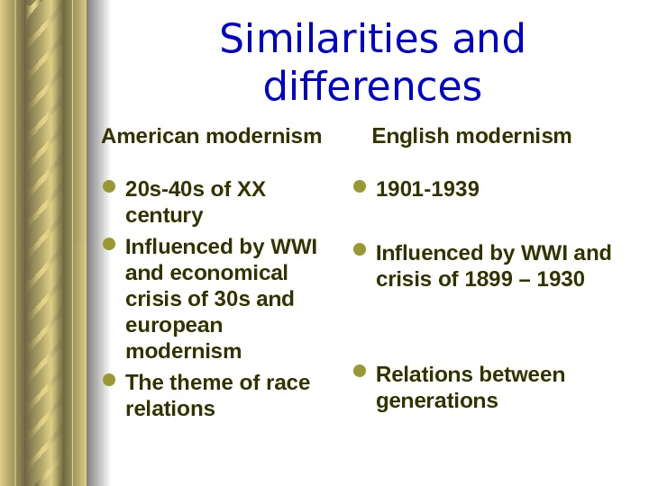 Similarities and differences American modernism 20 s-40 s of XX century Influenced by WWI and economical