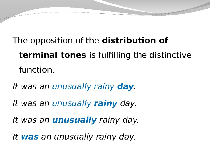 The opposition of the distribution of terminal tones is fulfilling the distinctive function. It was an