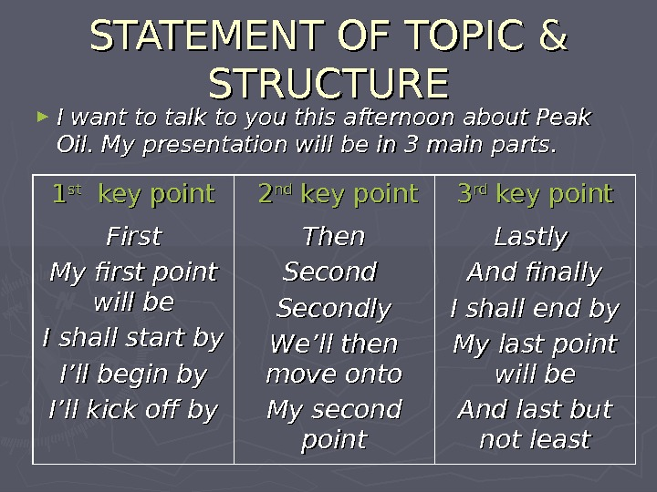 STATEMENT OF TOPIC & STRUCTURE ► I want to talk to you this afternoon about Peak