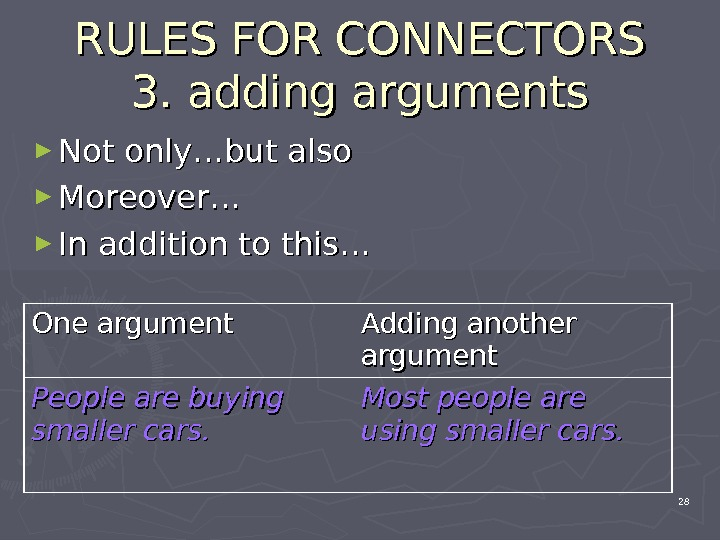 RULES FOR CONNECTORS 3. 3.  adding arguments ► Not only…but also ► Moreover… ► In