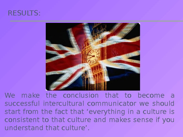 RESULTS:  We make the conclusion that to become a successful intercultural communicator we should start