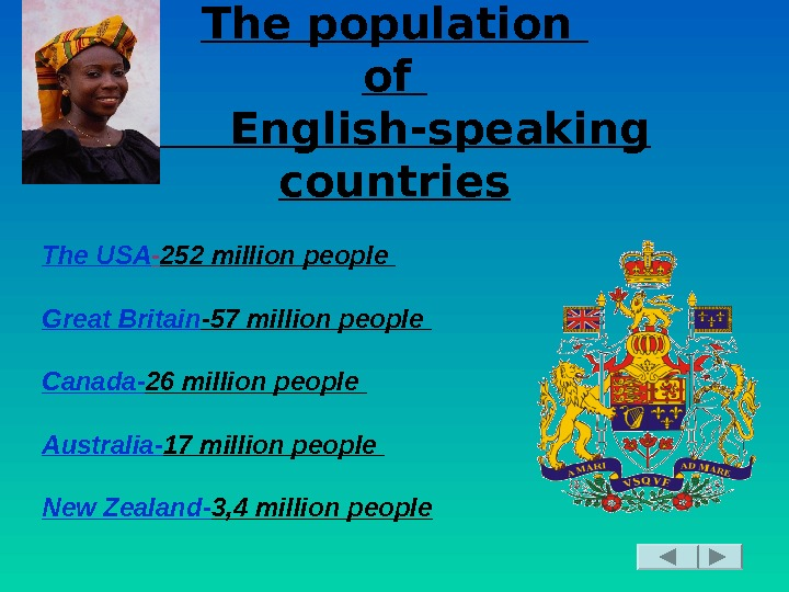 The population of   English-speaking countries The USA - 252 million people Great Britain -57