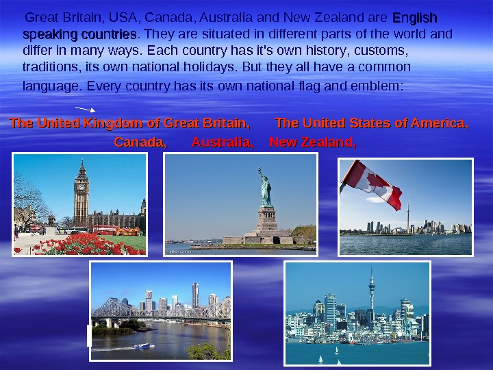 Great Britain,  USA, Canada, Australia and New Zealand are English speaking countries. They are