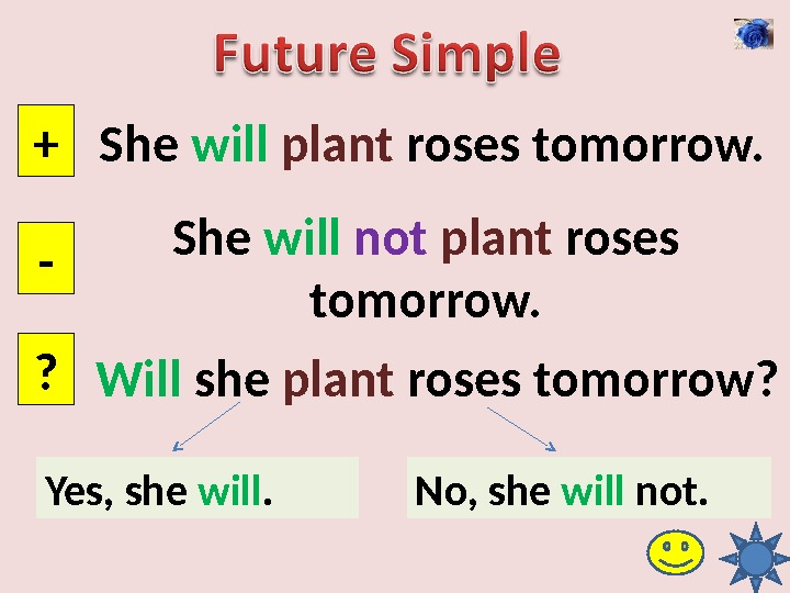 She will  plant roses tomorrow. + - ? She will  not  plant roses