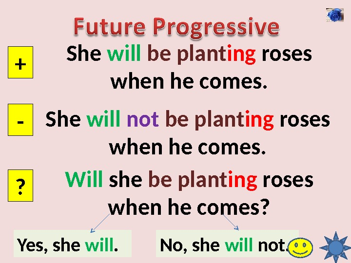 She will  be  plant ing roses when he comes. + - ? She will
