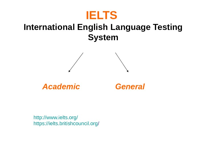 IELTS  International English Language Testing System    Academic General http: //www. ielts. org/