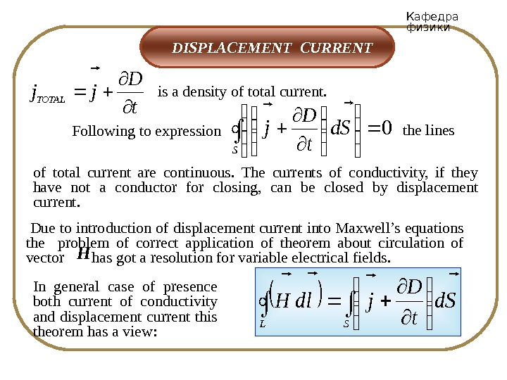 Кафедра физики  DISPLACEMENT CURRENT is a density of total current. t D jj. TOTAL of