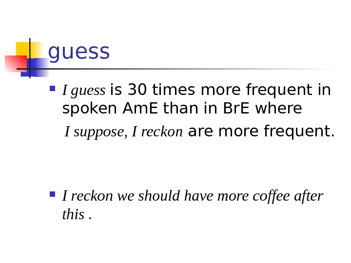 guess I guess is 30 times more frequent in spoken Am. E than in