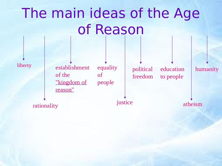The main ideas of the Age of Reason liberty establishment of the kingdom of