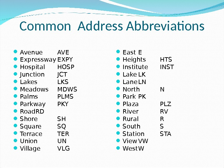 Common Address Abbreviations Avenue AVE Expressway EXPY Hospital HOSP Junction JCT Lakes LKS Meadows MDWS Palms