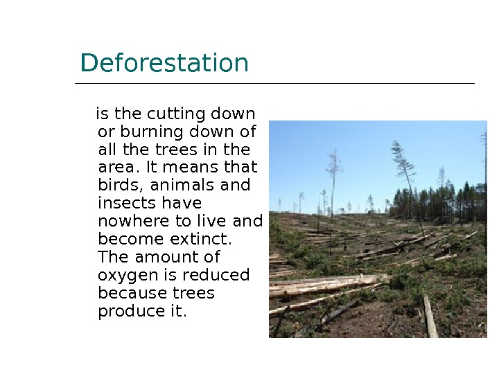 Deforestation is the cutting down or burning down of all the trees in the area. It