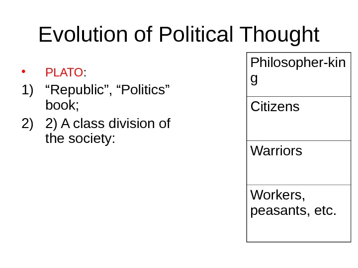 "Evolution of Political Thought • PLATO :  1) "" Republic"", ""Politics"" book;  2) 2)"
