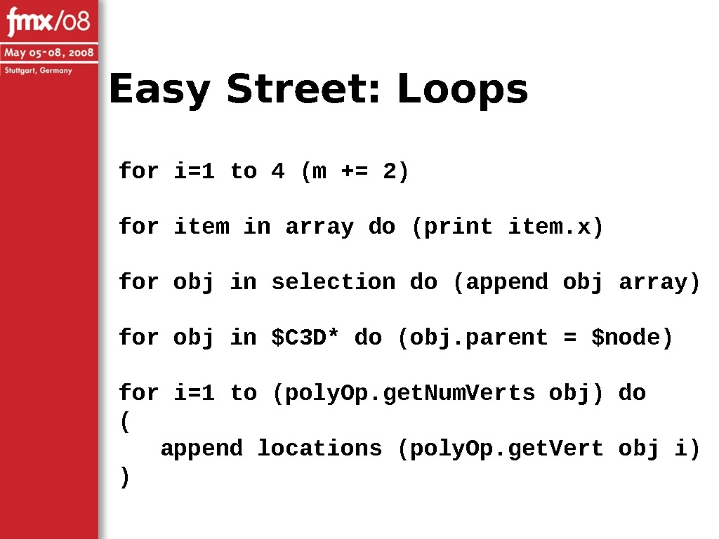 Easy Street: Loops for i=1 to 4 (m += 2) for item in array do (print