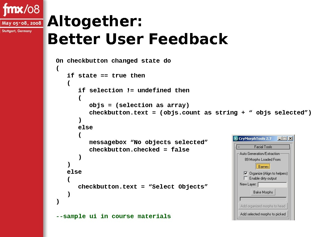 Altogether: Better User Feedback On checkbutton changed state do ( if state == true then (