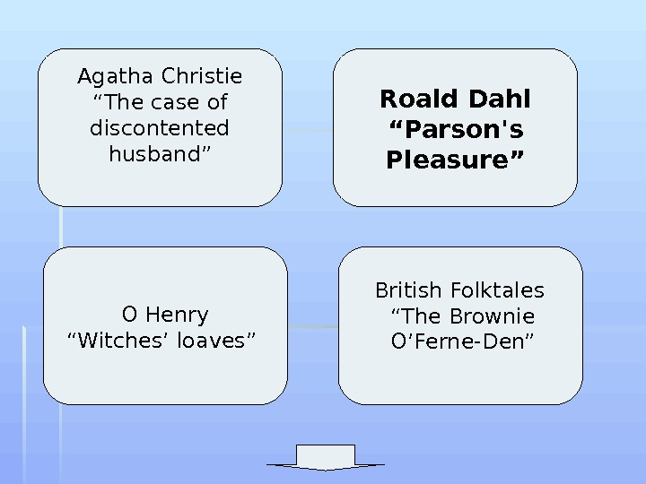 "Agatha Christie ""The case of discontented husband"" O Henry ""Witches' loaves"" Roald Dahl ""Parson's"