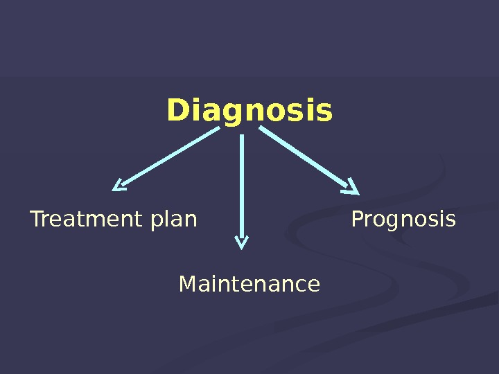 Diagnosis Treatment plan  Prognosis Maintenance