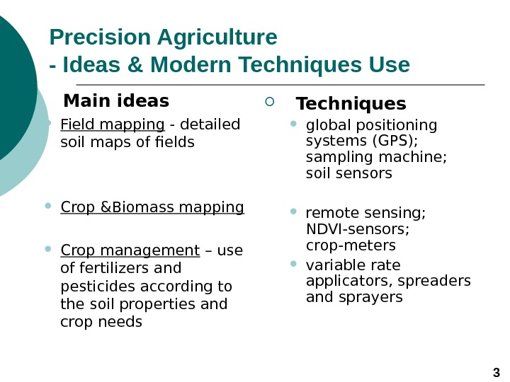 Precision Agriculture  - Ideas & Modern Techniques Use  Main ideas Field mapping