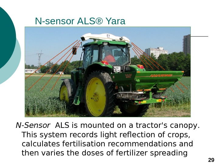 N-sensor ALS® Yara  N-Sensor  ALS is mounted on a tractor's canopy.